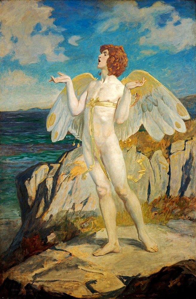Angus, God of Love and Courtesy, Putting a Spell of Summer Calm on the Sea.- John Duncan (American):