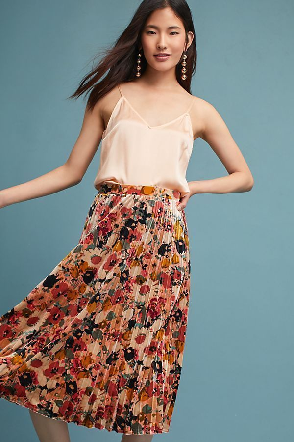41080ac53c NWT Anthropologie Floral Velvet Skirt, XL, Pink Pleated Skirt #Anthropologie  #Asymmetrical