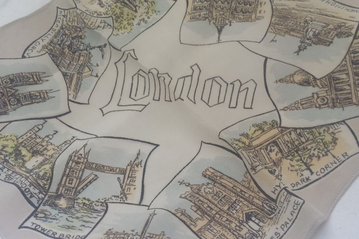 Vintage silk handkerchief, vintage hanky, London souvenir silk chiffon hankie. - pinned by pin4etsy.com