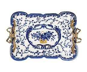 Vassoio rettangolare in ceramica Jouy - 24x32 cm