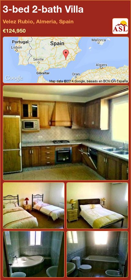 3-bed 2-bath Villa in Velez Rubio, Almeria, Spain ►€124,950 #PropertyForSaleInSpain