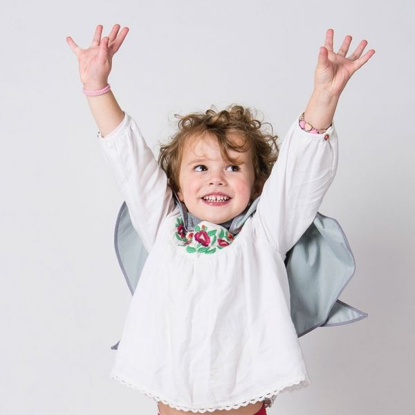 reflective (glowing in the dark) angel wings cape for kids  for safer school run, cycling or scooting in the darker hours- fun and safer for kids by https://henrichs.co.uk  photo credit by our retail partner: cyclechic.co.uk