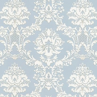Victorian Damask on Silvery Blue Wallpaper Double Rolls