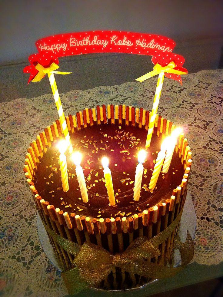 Pocky chocolate nutella cake! ❤ #birthdaycake #happybirthdaybrother