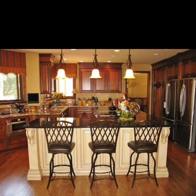 cream island, dark cabinets,  Kitchen  Pinterest