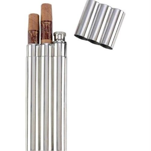 Maxam KTFLKCG16 Maxam 16pc 2oz Stainless Steel Flask With 2 Cigar Tubes In Countertop Display- Di | Jet.com