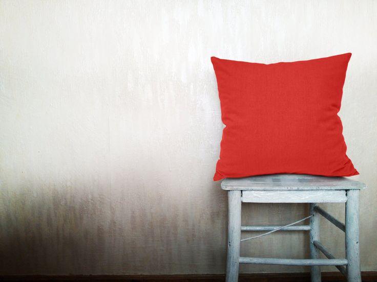 Rot Kissenbezug Koralle Kissenhülle 60x60 cm von HomeLivingIdeas auf DaWanda.com