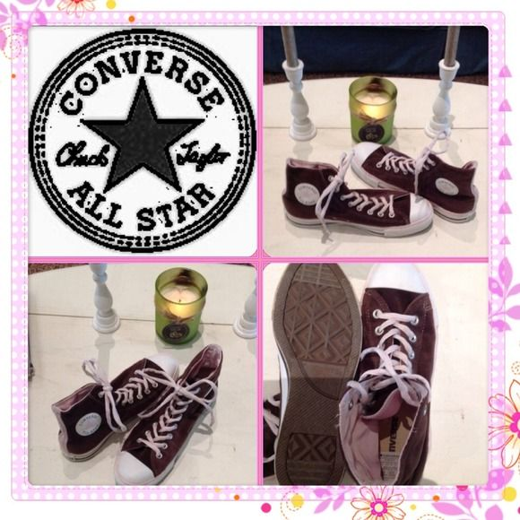 1/2 OFF LIKE NEW AUTHENTIC CONVERSE HIGH TOPS Cute, rare Converse. Brown suede with pink trim. Only worn once. Super cute & comfy. Converse Shoes
