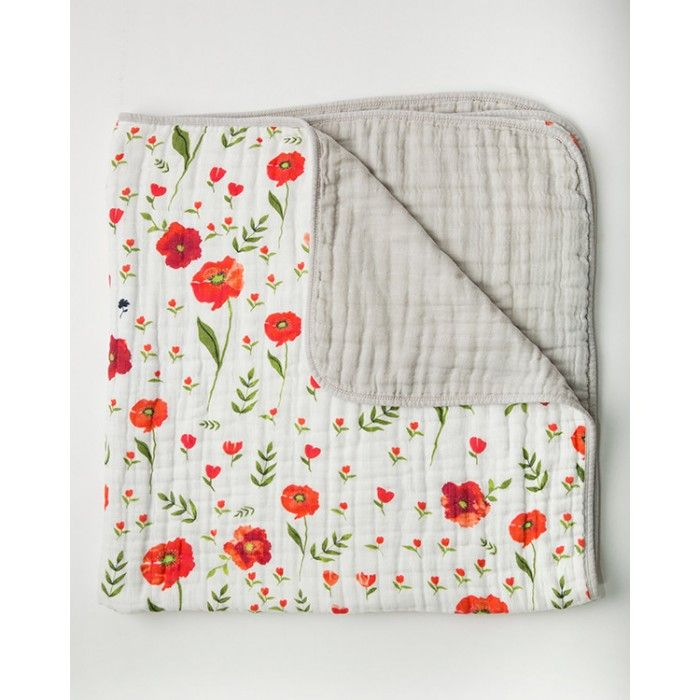 Little Unicorn Cotton Quilt - Summer Poppy - Little Unicorn Cotton Quilts are made with 100% cotton muslin. You will love their original unique prints for your unique personality. With this quilts breathable fabric it's great for your childs car seat and stroller. BabyCubby.com