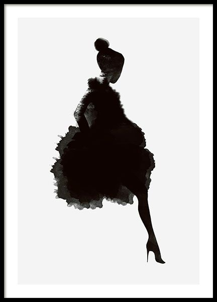 Poster / wall art with a graphical illustration of a woman in silhouette. Looks great with modern or Scandinavian-style décor. www.desenio.co.uk