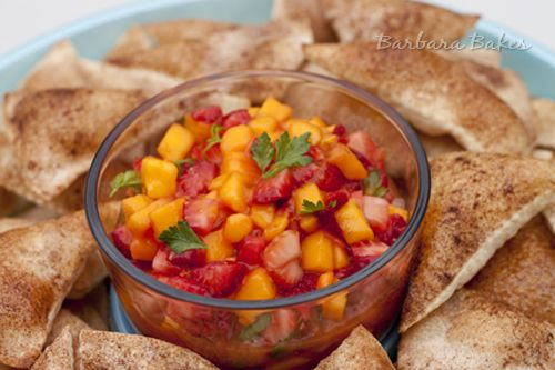 Strawberry Mango Salsa & Cinnamon Tortilla Chips. Barbara, you are an amazing woman. <3