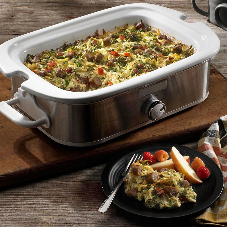 Slow Cooker Overnight Breakfast Casserole Recipe -Wake up relaxed, refreshed and ready to eat, with this great dish from Johnsonville. Let your favorite breakfast ingredients simmer and meld together overnight and you'll have the perfect morning meal ready whenever you wake up!