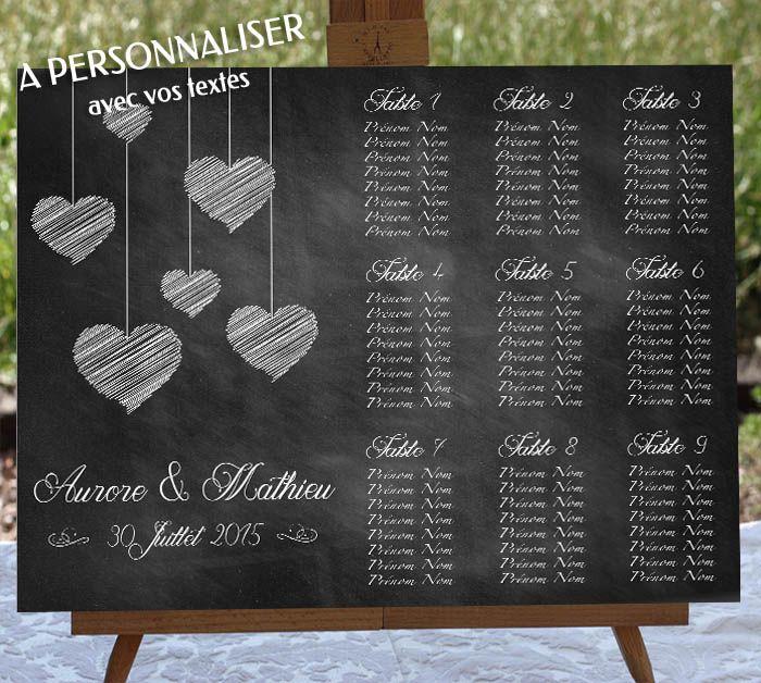 AFFICHE POUR MARIAGE Une affiche originale entièrement personnalisable (tous les textes) avec votre plan de table qui pourra être accrochée lors du mariage. Plusieurs formats disponibles. PRIX : à partir de 15€ Plus de détails sur : http://www.graphik-spirit.fr/tableaux/588-tableau-mariage-plan-de-table-personnalise.html