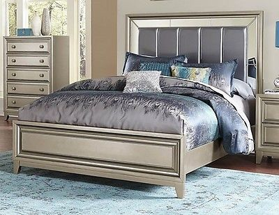 GLAMOROUS GRAY GREY MIRRORED QUEEN BED BEDROOM FURNITURE