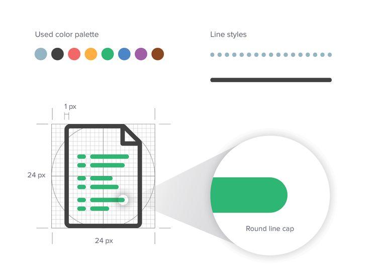 Стиль руководства и цветовая палитра набор иконок для Адепт