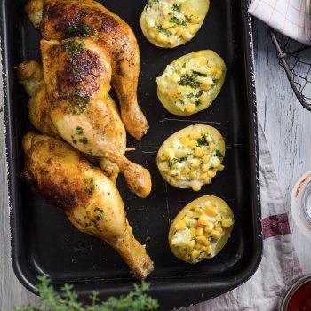 Cuisses de poulet farcies et gratinées