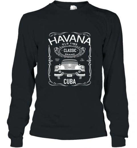 Cuban Classic Car T Shirt. Classic Car Tee. Havana Car Tee Long Sleeve