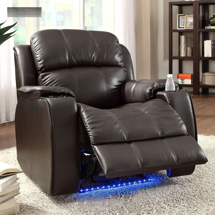 Power Massager Brown Recliner Cup Holder Electric Lazy Boy Chair Barcalounger #Transitional