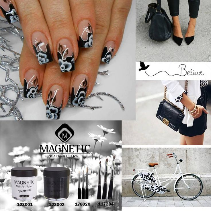 66 best magnetic nails images on pinterest magnetic nails black white magnetic nail design prinsesfo Image collections