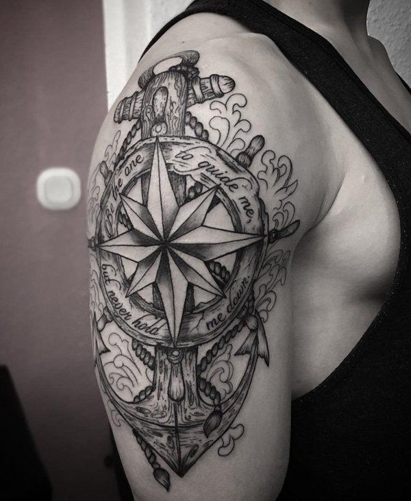 Compass and anchor tattoo on sleeve - 100 Awesome Compass Tattoo Designs