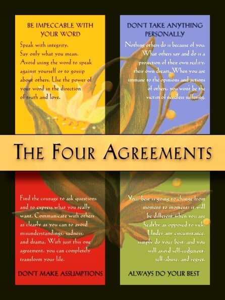 The Four Agreements by Don Miguel Ruiz Beautiful thoughts - agreement in word