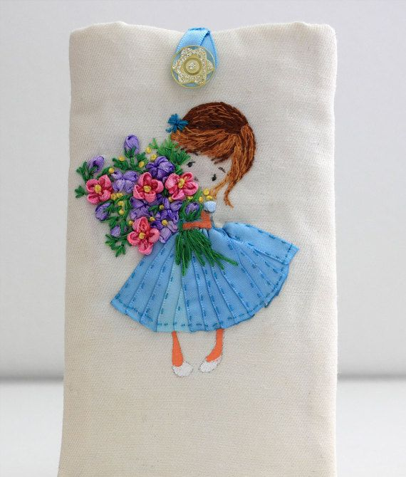 Fabric phone case with embroidery padded iphone sleeve от ThaiBee