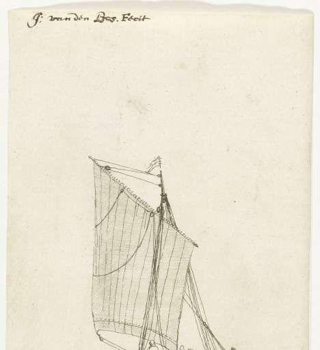 Zeilschip met vierkant grootzeil, Caspar van den Bos, c. 1649 - c. 1656 - Search - Rijksmuseum