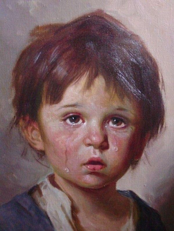 Peintures d'enfants en pleurs
