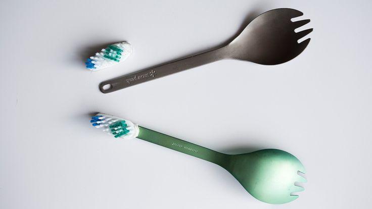 Spork toothbrush