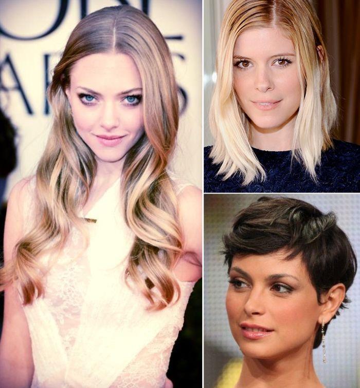 Amanda Seyfried, Kate Mara e Morena Baccarin: cortes de cabelo para o inverno #tendencia #loiras #morenas #lob #hair #beauty #estilo #look #celebridade #famosas #festa #pixie #medio #longo #beleza