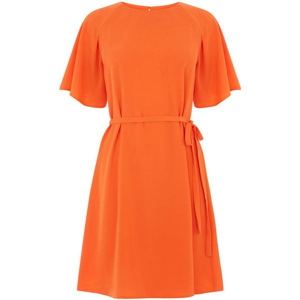 PLEATED SLEEVE DRESS ($69) ❤ liked on Polyvore featuring dresses, loose fitting dresses, orange pleated dress, sleeved dresses, day to night dresses and loose fitting summer dresses