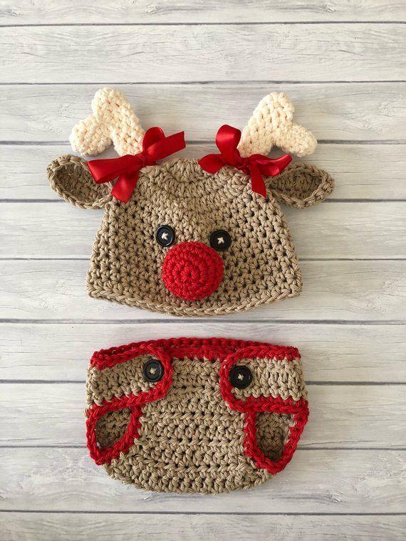 df62e4a68 Reindeer hat crochet reindeer hat baby reindeer hat newborn reindeer ...