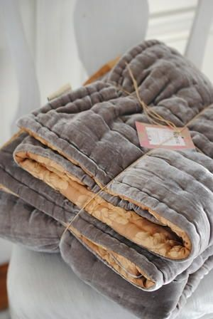 Love this grey velvet blanket with gold lining.