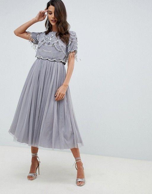74dddb555e ASOS DESIGN | ASOS DESIGN crop top fringe embellishment tulle midi dress