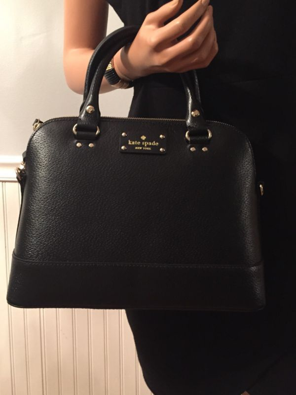 NWT KATE SPADE SMALL RACHELLE WELLESLEY BLACK BAG SATCHEL $395
