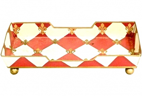 Red/White Tole Vanity Tray
