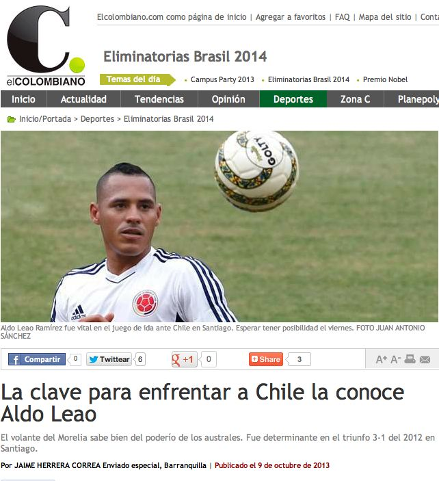 """""""No podemos cometer errores"""" dice el jugador colombiano Aldo Leao Ramírez, sobre su partido Colombia-Chile este viernes 11 de octubre."""