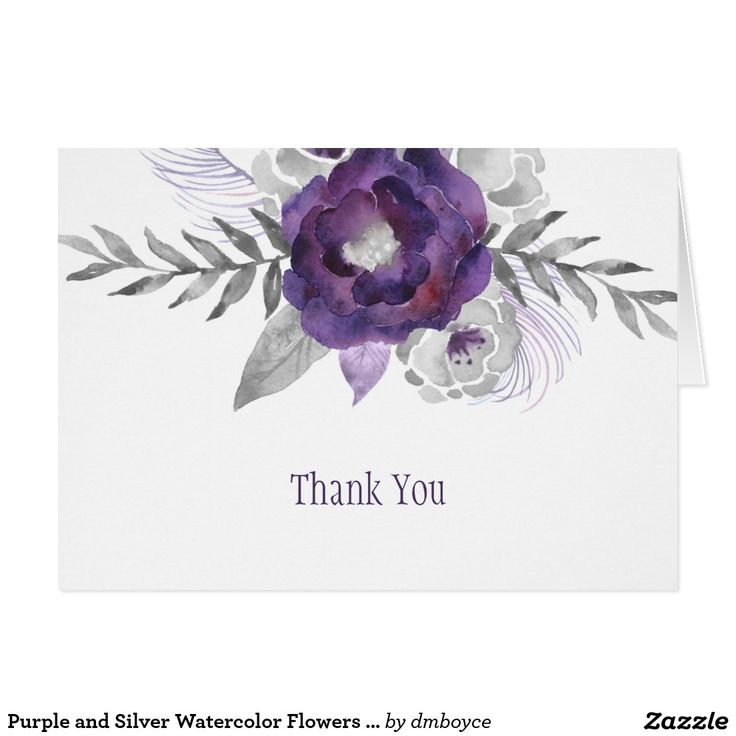 wedding custom thank you cards%0A Purple and Silver Watercolor Flowers Thank You Card