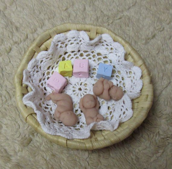 """Triplet Babies each 1.5"""" with Round Basket Blanket and Blocks Polymer Clay by LaurelArts"""