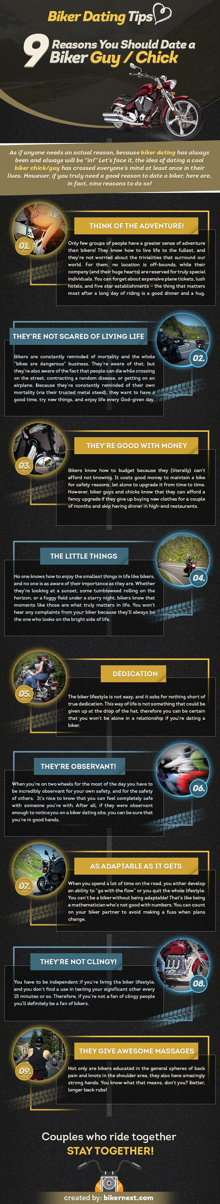 "Biker Dating Tips: 9 Reasons You Should Date a Biker Guy/Chick [INFOFGRAPHIC] As if anyone needs an actual reason, because biker dating has always been and always will be ""in!"" Let's face it, the idea of dating a cool biker chick/guy has crossed everyone's mind at least once in their lives. However, if you truly need a good reason to date a biker, here are, in fact, nine reasons to do so!"