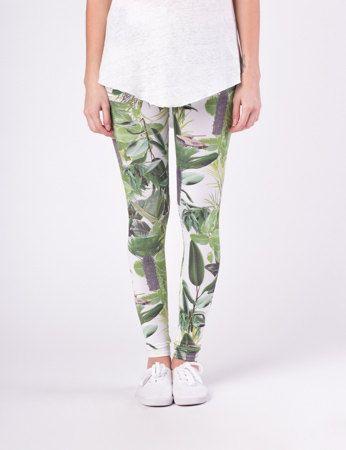 Palm Avenue  White jungle leggings by QooQooFashion on Etsy, $50.00