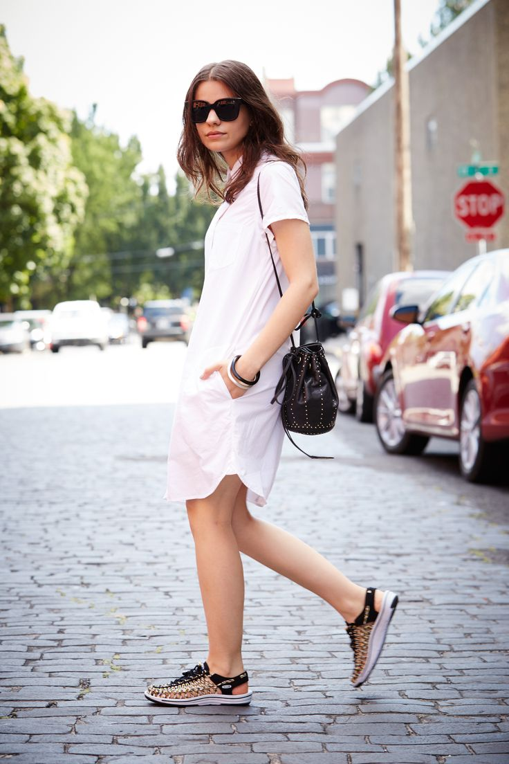 Simple white dress.