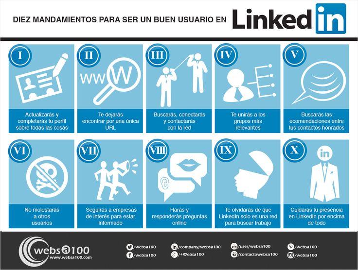 Los 10 mandamientos del saber estar en Linkedin #infografia #RRSS #RedesSociales