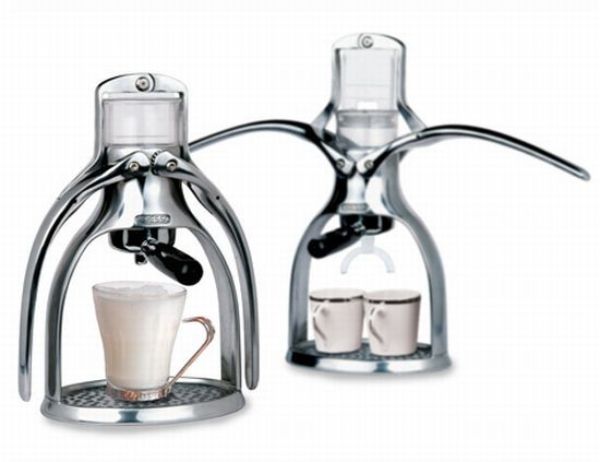 The espresso machine reinvented as a zero electricity espresso maker. What a cool way to enjoy your coffee.