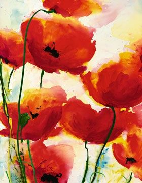 Red Poppies Art Print by Heidi Reil                              I need to start painting again...