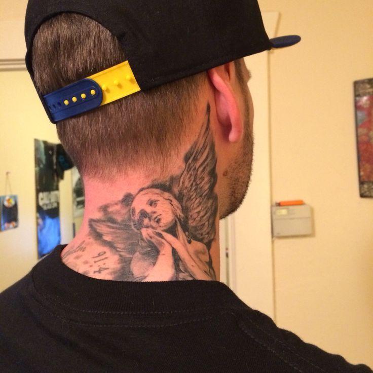Engelshalstattoo Engelshalstattoo Couplestattoo Engelshalstattoo Necktattoos Strengthtattoo Tat Neck Tattoo For Guys Neck Tattoo Nape Tattoo