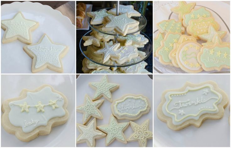 Twinkle Twinkle Little Star Baby Shower Sugar Cookies | Free Printable Invitations | These Little Loves Blog