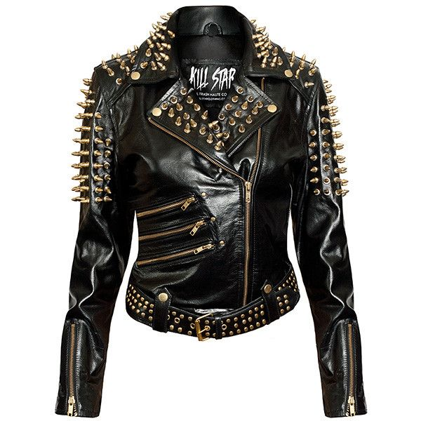 Spiked leather jacket men
