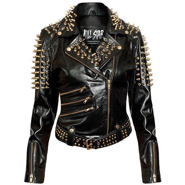 Spiked leather jacket men