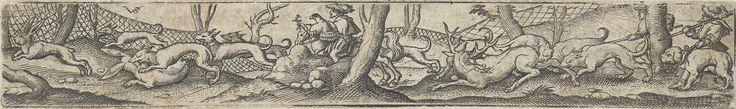 Herten- en hazenjacht met netten en een valkenier te paard, Virgilius Solis (I), 1524 - 1562